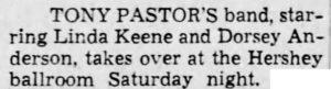 Tony Pastor and Linda Keene at Hershey Park Ballroom