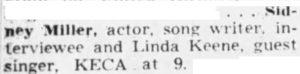 Linda Keene on KECA July 9, 1949