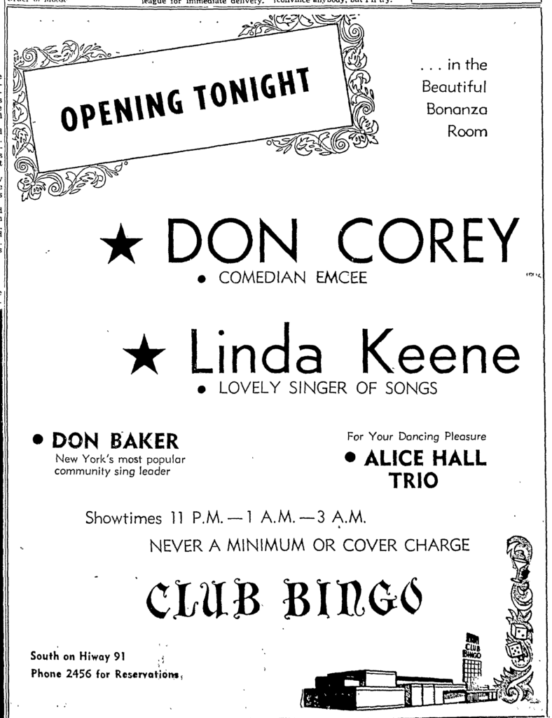 Linda Keene at the Club BingoJuly 22, 1949