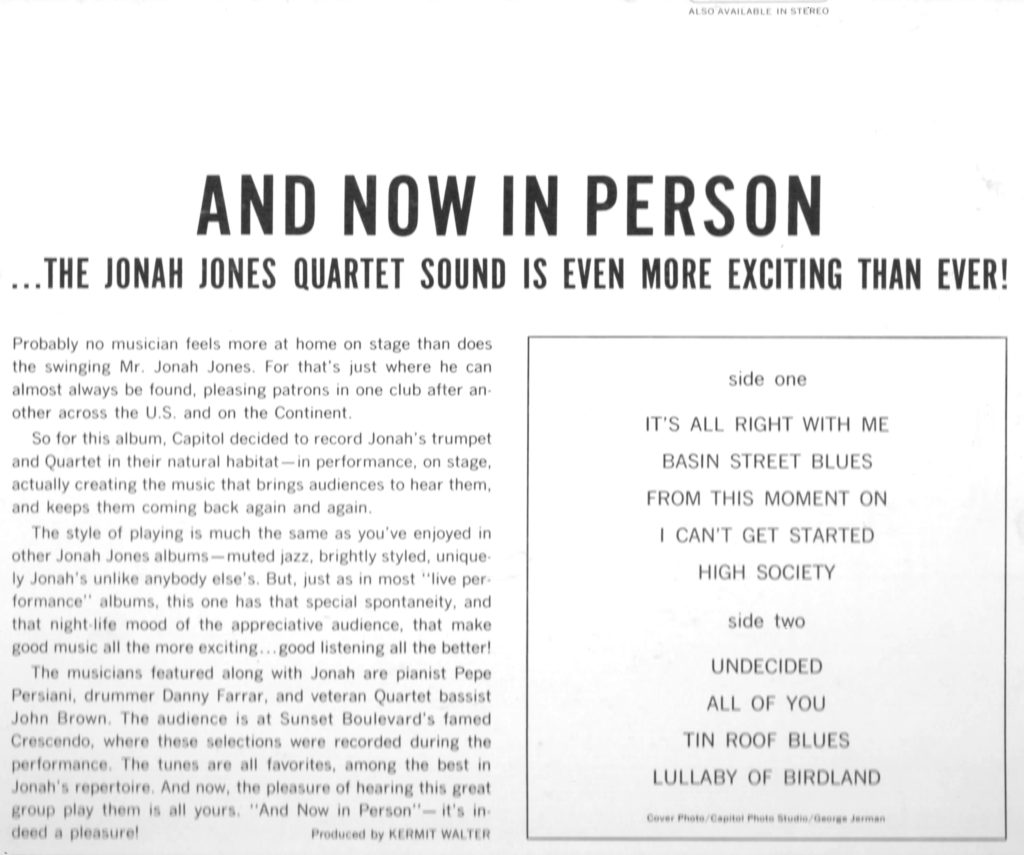 And Now In Person Jonah Jones (rear cover)
