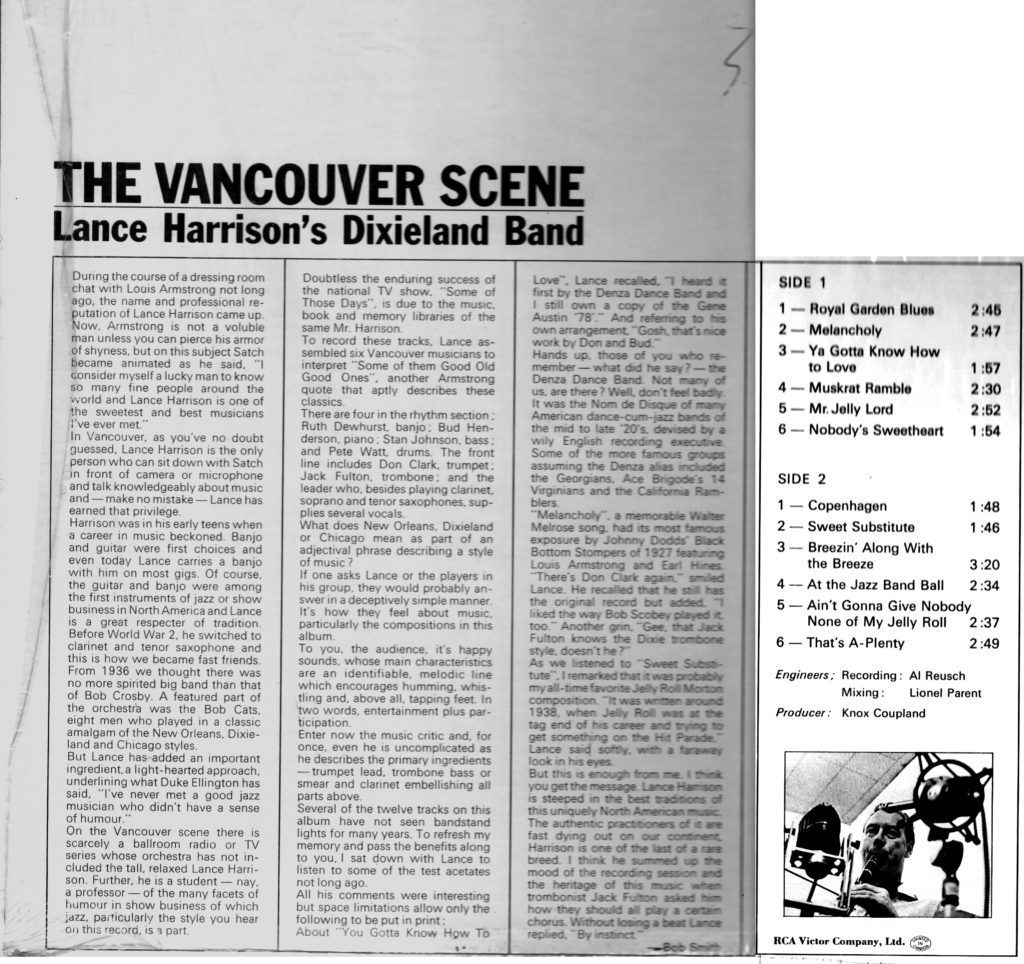 The Vancouver Scene (back cover)