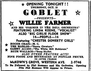 Willie Farmer and Linda Keene opened October 12, 1939 in Albany