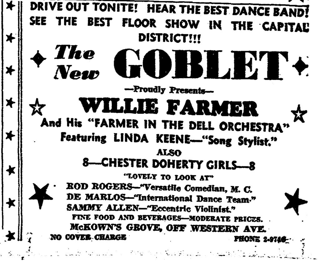 Farmer and Keene at the Goblet October 21st, 1939